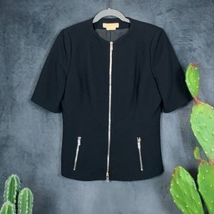 Michael Kors Italy Short Sleeve Zip Blazer 8  G588